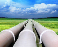 Above ground pipelines in a field
