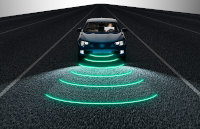Car emitting radio waves
